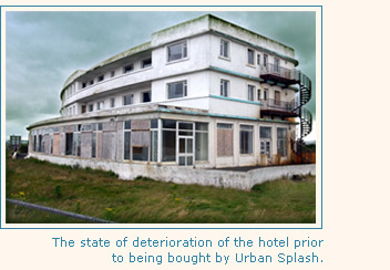 The hotel in a state of seterioration prior to being bought by Urban Splash