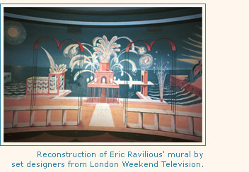 Reconstruction of Eric Ravillious' Night Scene for the Circular Cafe, by set designers for LWT